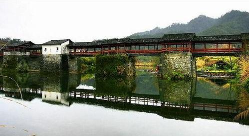 古廊桥彩虹桥手绘