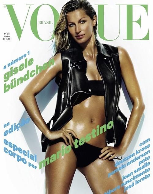 特别要强调一下,这是2013年巴西版Vogue的六月刊封面,很震惊是不是,这是超模吉赛尔·邦辰生产完两个月后,这是怎样的恢复速度?你能从这娇躯上看到任何刚做妈妈的痕迹吗?