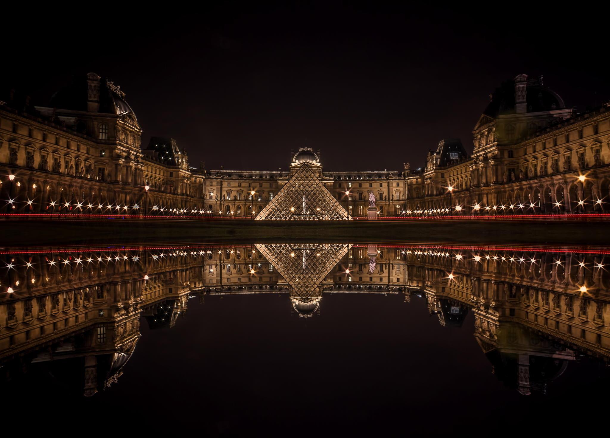 夜拍卢浮宫和埃菲尔铁塔