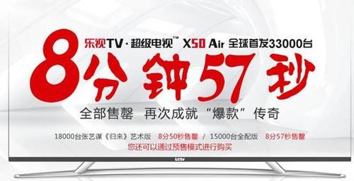 3.3万台乐视TV超级电视X50 Air 8分57秒售罄