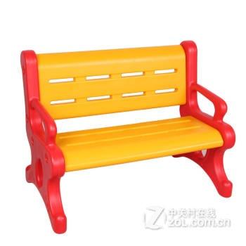 幼儿塑料靠背休闲椅儿童塑料长椅双人塑料椅 黄红色 图1