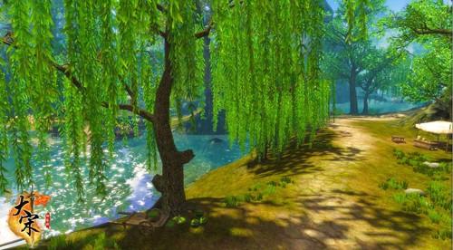 柳树河边简笔画