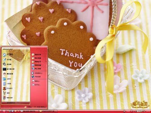 这是一款可爱的时尚美食主题,应用红黄色彩,以卡哇伊的饼干为素材,让