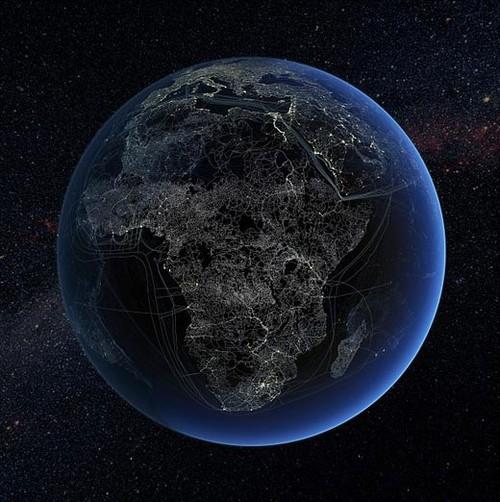 数据电缆,航空路线,铁路线路在地球表面拓展分布的