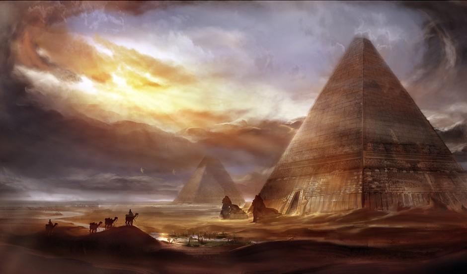 金字塔手绘风格