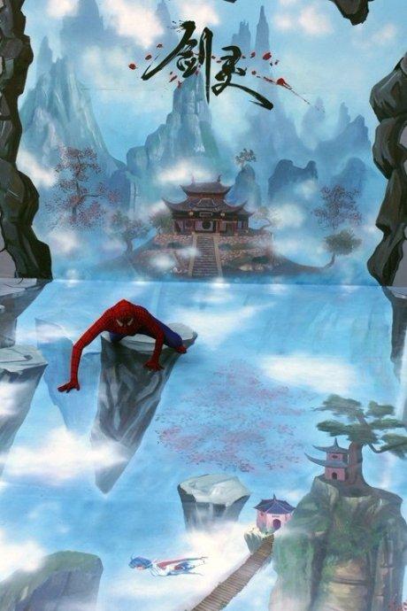 立体画,比较有特点的创意加上蜘蛛侠现场爬高吸引了