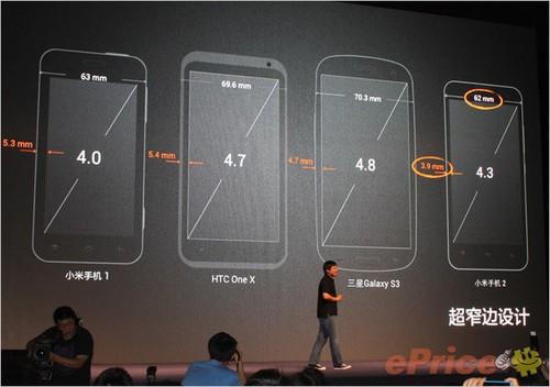 小米手机二代采用了窄边框设计,虽然屏幕尺寸增大了,但是机身的