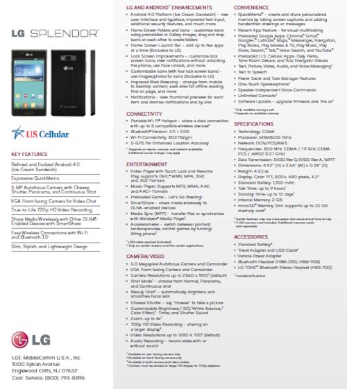 安卓4.0入门新机 LG Splendor登陆官网