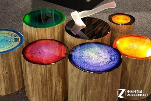 这款年轮木桩的灯具设计确是非常简单