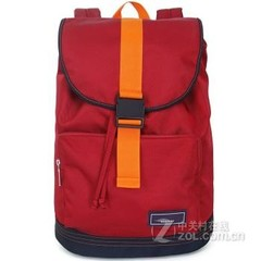 promax新款英伦水桶双肩包男女韩版潮学院风翻盖背包撞色学生书包MD1013B-10 红色